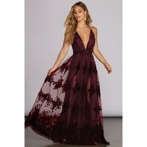 Burgundy Engagement velvet floral tulle lace dress